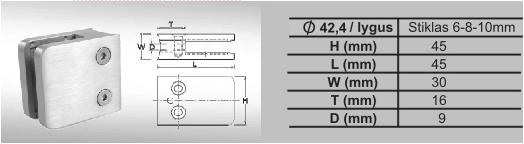 MV-014.2 Stiklo laikiklis kvadratinis