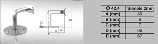 MV-016 Sieninis turėklų tvirtinimas reguliuojamas