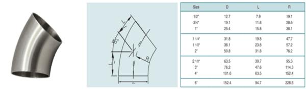 3A privirinama alkūnė 45° (AISI 304)