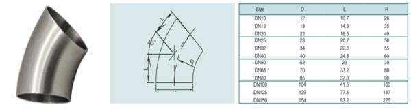 DIN privirinama alkūnė 45° (AISI 304)