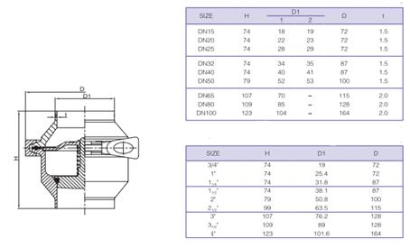 Atbulinis vožtuvas (AISI 304)